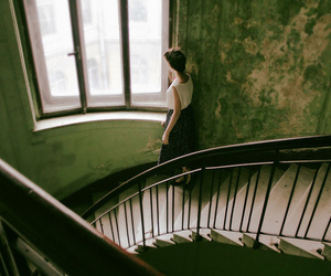 window, girl, and stairs image