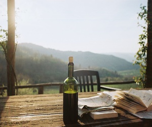 book, wine, and nature image