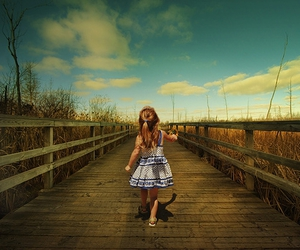 bridge, clouds, and girl image