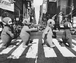 b & w, beatles, and teletubies image