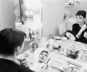 audrey hepburn, mirror, and black and white image