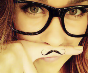 girl, mustache, and glasses image