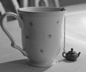 black & white, black and white, and cup image