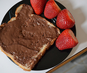strawberry, nutella, and chocolate image