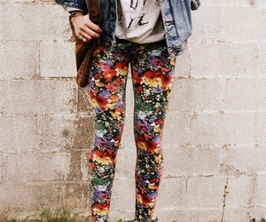 bag, denim jacket, and floral image