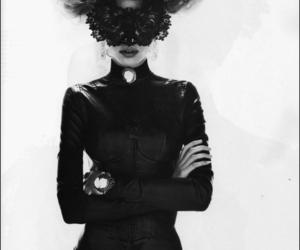 black and white, mask, and Lara Stone image