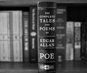 book, edgar allan poe, and black and white image
