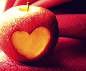 apple, heart, and love image
