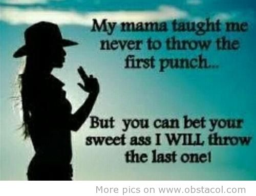 My Mama Taught Me Never To Trow The First Punch Funny Pictures