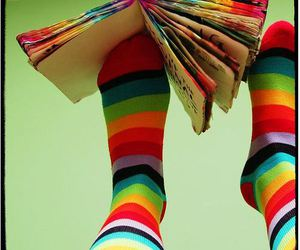 socks, book, and rainbow image