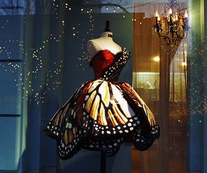 butterfly, dress, and girl image