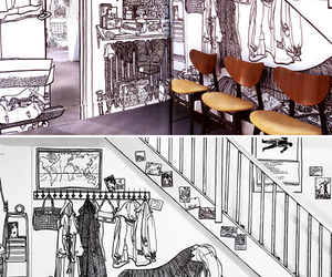 doodle, sketch, and interior image