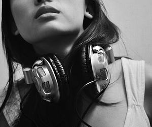 girl, music, and headphones image