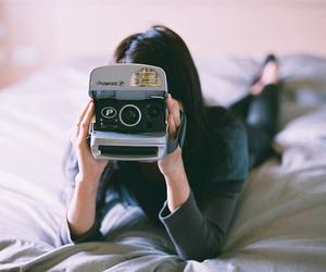 girl, polaroid, and camera image