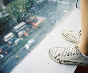 rain, window, and shoes image