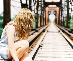 girl, blonde, and train image