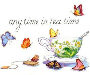butterfly, tea, and art image
