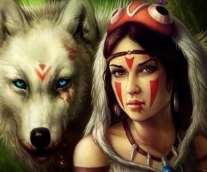 wolf, princess mononoke, and anime image