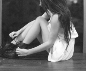 b&w, black and white, and boots image