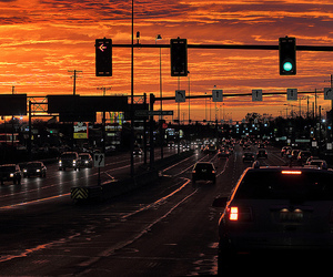 cars, lights, and sunset image