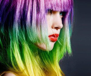 colorful hair and rainbow image