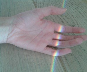 hand, rainbow, and pale image