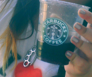 brass knuckles, coffee, and girl image