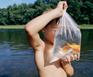boy, friend, and fish image
