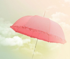 pink, umbrella, and sky image