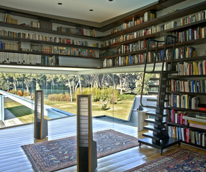 architecture, bookshelves, and design image