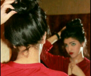 bun, hair, and red lips image
