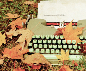 autumn, leaves, and typewriter image