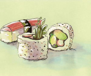 art, japanese, and food image
