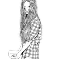 girl, drawing, and fish image