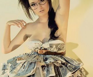 glasses, newspaper, and dress image