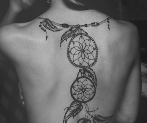 back tattoo, feathers, and girl image