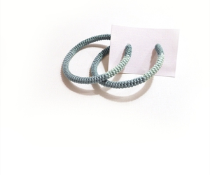 earrings, mint green, and silver tone hoops image