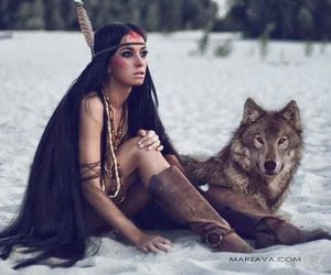 native american, snow, and wolf image