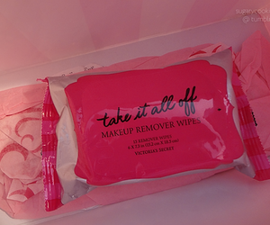 pink, victoria secret, and makeup remover wipes image