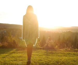 girl, meadow, and moment image