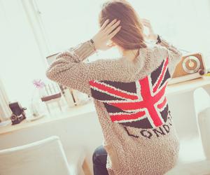 girl, london, and flag image