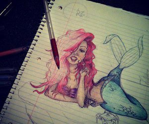 ariel, mermaid, and drawing image