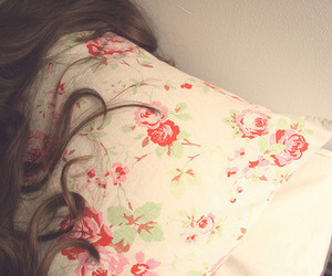hair, floral, and pillow image