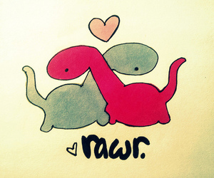 love, rawr, and dinosaur image