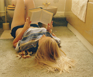 girl, book, and blonde image