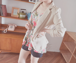 floral, girl, and shorts image