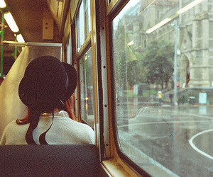 girl, bus, and hat image