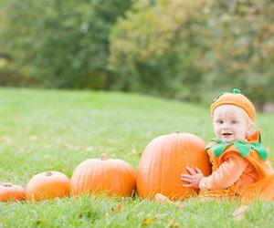 baby, Halloween, and pumpkin image