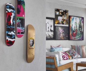 skateboard, room, and skate image