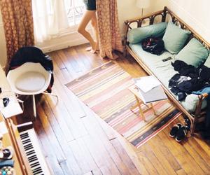 girl, room, and piano image